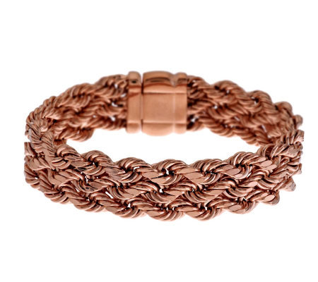 """As Is"" Bronzo Italia 8"" Bold Triple Row Woven Rope Bracelet"