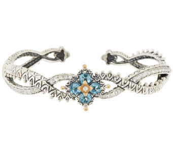 Barbara Bixby Sterling & 18K Blue & White Topaz Flower Cuff Bracelet - J285568