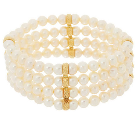 Honora 14K Gold Cultured Pearl 4 Row Stretch Bracelet
