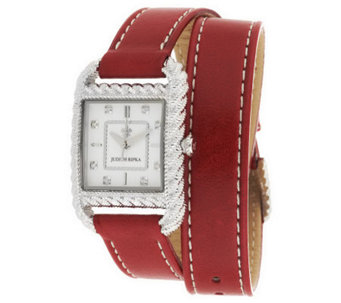 Judith Ripka Stainless Steel & Leather Strap Wrap Watch - J286568
