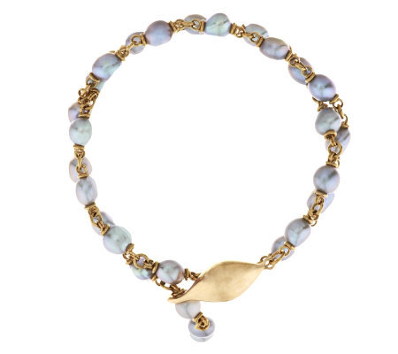 Michael Dawkins 14K Gold and Grey Cultured Pearl Necklace