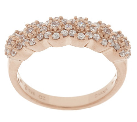 Diamonique 1/2cttw Cluster Band Ring, Sterling or 14K Clad