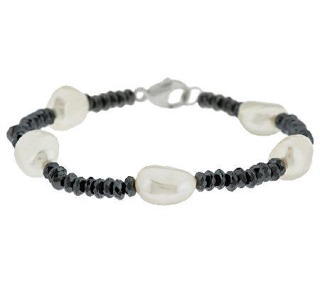 "Honora Cultured Pearl 9.0mm and 16.00 ct tw Hematite 7"" Bracelet"