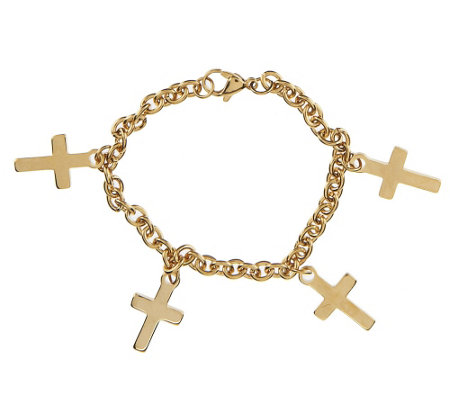 Stainless Steel Multi-Cross Charm Bracelet