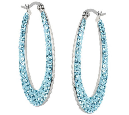 Stainless Steel Crystal and Cable Inside Out Hoop Earrings