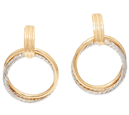 EternaGold Large Two-tone Circle Dangle Earrings, 14K