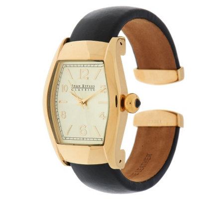 Joan Rivers Classic Leather Hinged Bangle Watch
