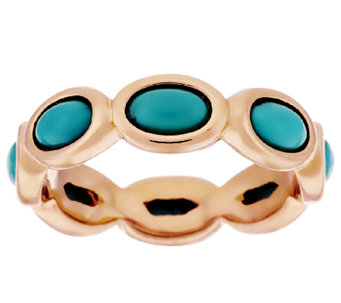 Bronze Oval Turquoise Eternity Band Ring by Bronzo Italia - J294968