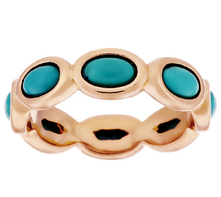 Bronze Oval Turquoise Eternity Band Ring by Bronzo Italia