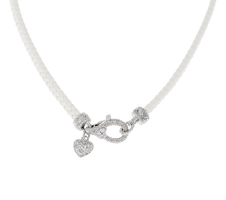 Judith Ripka Sterling Braided Necklace with Heart Charm