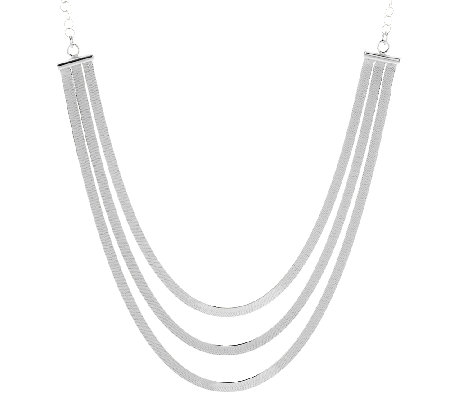 "Vicenza Silver Sterling 18"" 3-Strand Solid Herringbone Necklace, 10.0g"