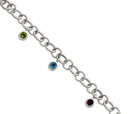 Sterling Multi-Gemstone Twisted Link Dangle Bracelet