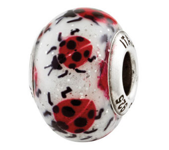 Prerogatives Sterling Lady Bugs Italian MuranoBead - J310368