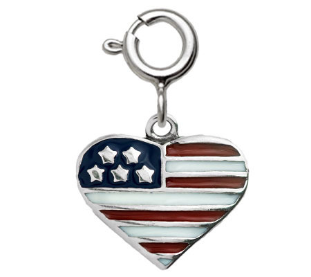 Sterling Epoxy Enamel Flag Heart Charm