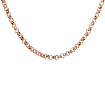 "Bronzo Italia 24"" Polished Rolo Link Necklace"