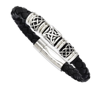 "Stainless Steel 8-1/2"" Black Leather Woven Bead Bracelet - J313268"