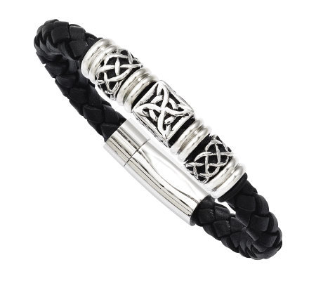"Stainless Steel 8-1/2"" Black Leather Woven Bead Bracelet"