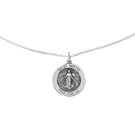 "Sterling Saint Martha Round Solid Pendant w/ 18"" Chain"