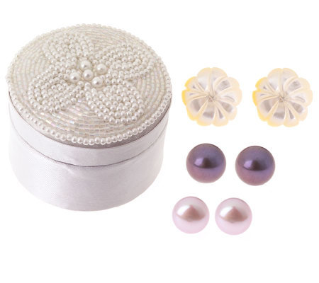 Set of 3 Button and Flower Earrings with Gift Box