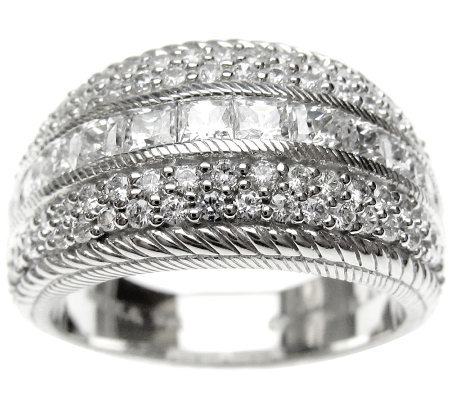 Judith Ripka Sterling 2ct Round & Princess-CutDiamonique Ring