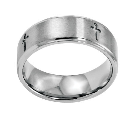 Stainless Steel 8mm Brushed Cross Ring