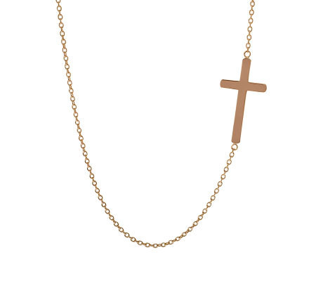 "Bronzo Italia 36"" Polished Cross Necklace"