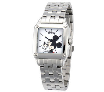 Disney Women's Square Stainless Steel Mickey Watch - J315568