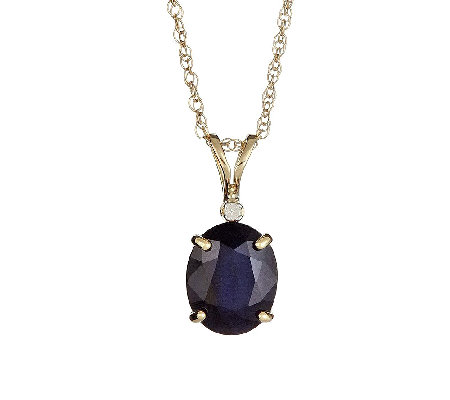 "Oval Sapphire Pendant with Diamond Accent and 18"" Chain, 14K"