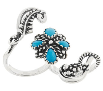 Sleeping Beauty Turquoise Sterling Double Finger Ring by American West - J318868