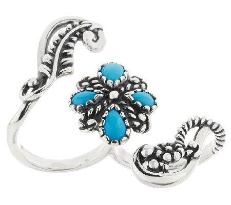 Sleeping Beauty Turquoise Sterling Double Finger Ring by American West