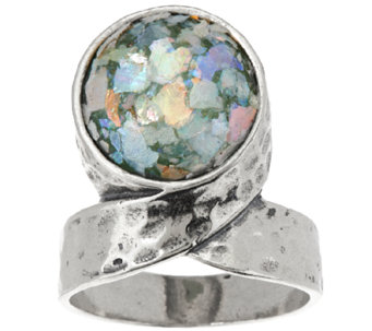 Sterling Silver Roman Glass Twisted Ring by Or Paz - J319368