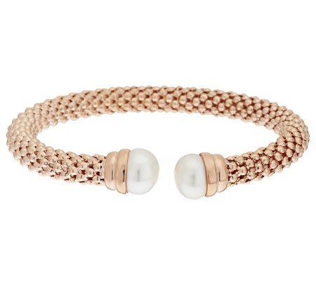 """As Is"" Honora Cultured Pearl 11.0mm Textured Bronze Cuff Bracelet"
