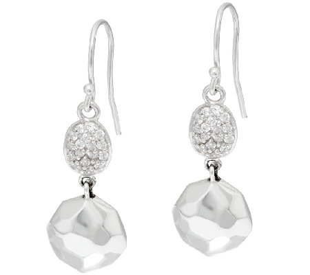 Michael Dawkins Sterling & Diamonique Faceted Bead Dangle Earrings