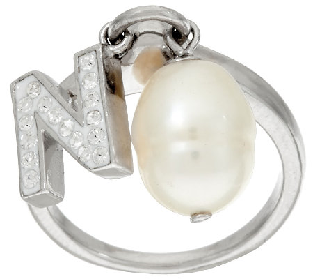 Honora Cultured Pearl 9.0mm & Crystal Initial Charm Ring