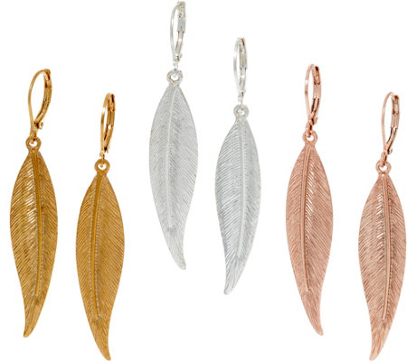 Joan Rivers Set of 3 Linear Leaf Drop Earrings