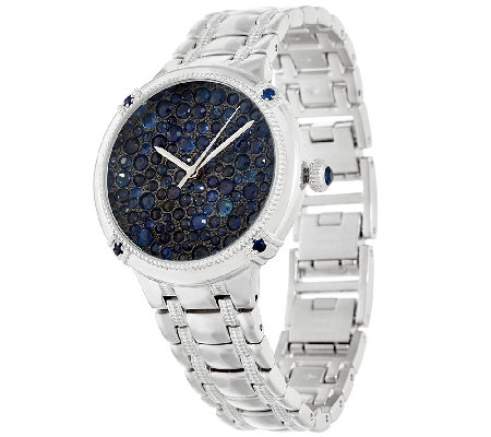 Ecclissi Facets Pave' Sapphire Stainless Steel Watch 6.50 cttw