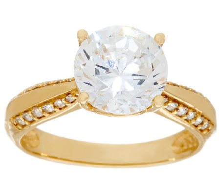 Diamonique 3.00ct Solitaire Ring, 14K Gold