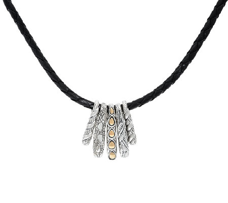 JAI Sterling & 14K 5 Station Hill Tribe Necklace on Leather