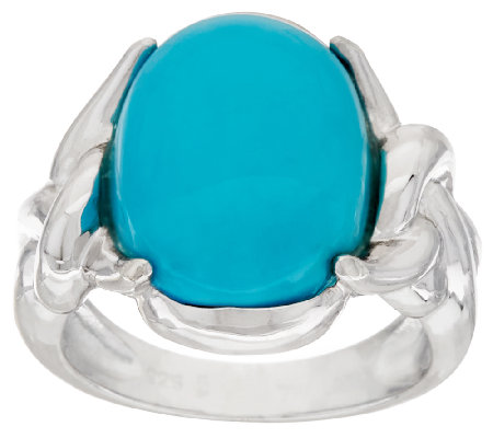 """As Is"" Sterling Silver Oval Turquoise Twist Design Ring"