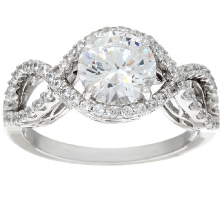 Diamonique Round Cut Infinity Bridal Ring, Platinum Clad