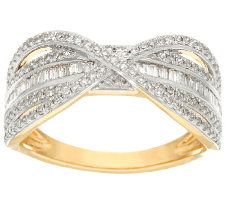 Baguette Band Diamond X-Ring, 14K Gold, 1/2 cttw, by Affinity