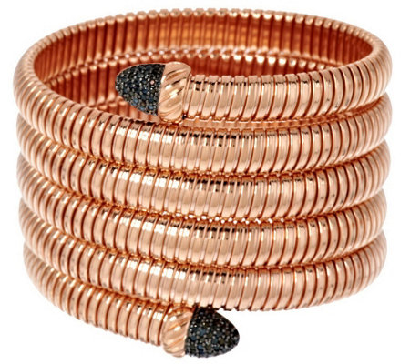 """As Is"" Bronzo Italia Average Black Spinel Tubogas Coil Bracelet"