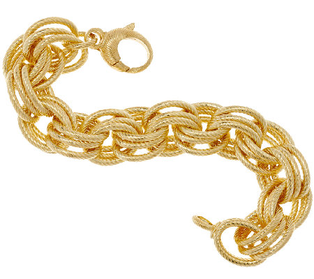 """As Is"" Bronzo Italia Bold Textured Triple Rolo Link Bracelet"