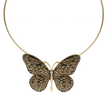 """As Is"" Enamel & Crystal Butterfly Necklace"