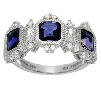 Judith Ripka Sterling or 14K Clad Asscher Cut Gemstone Ring - J329368
