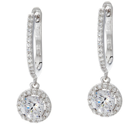 Diamonique Halo Design Dangle Earrings Sterling or 18K Plated