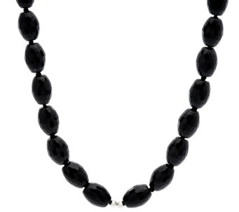 "Luv Tia Sterling & Faceted Black Onyx Bead 23"" Necklace - J330468"