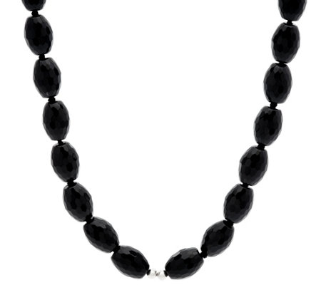 "Luv Tia Sterling & Faceted Black Onyx Bead 23"" Necklace"