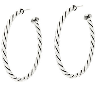 "Sterling Silver 2"" Rope Design Hoop Earrings by American West - J330568"