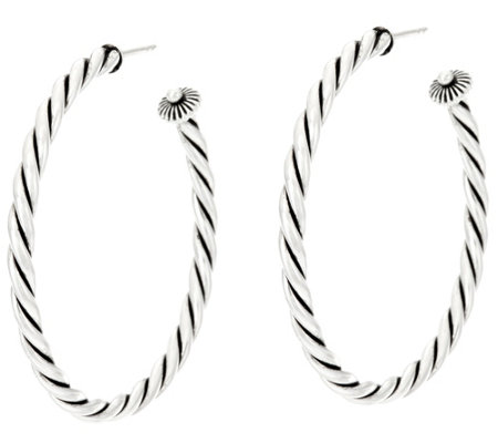 "Sterling Silver 2"" Rope Design Hoop Earrings by American West"